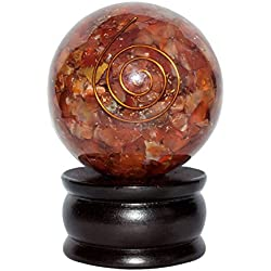 Crocon Red Carnelian Reiki Healing Orgone Crystal Sphere Ball Energy Generator for Chakra Balancing Aura Cleansing & EMF Protection 50-55mm