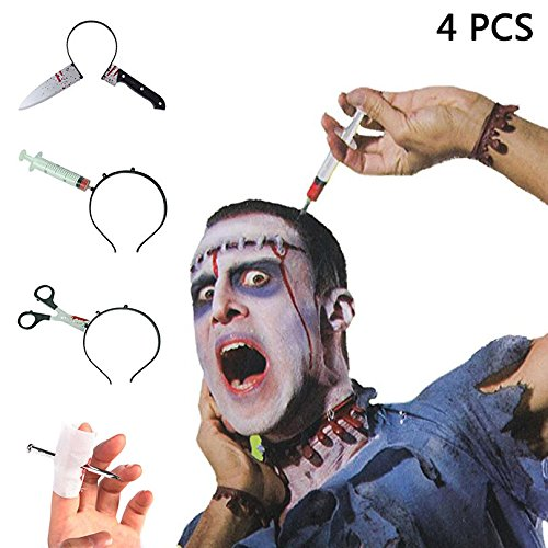 Most Horrible Halloween Costumes (KOSBON Halloween Men's Costume Accessory Plastic Knief Through The Head Bloody Syringes Headband for Children Adult)