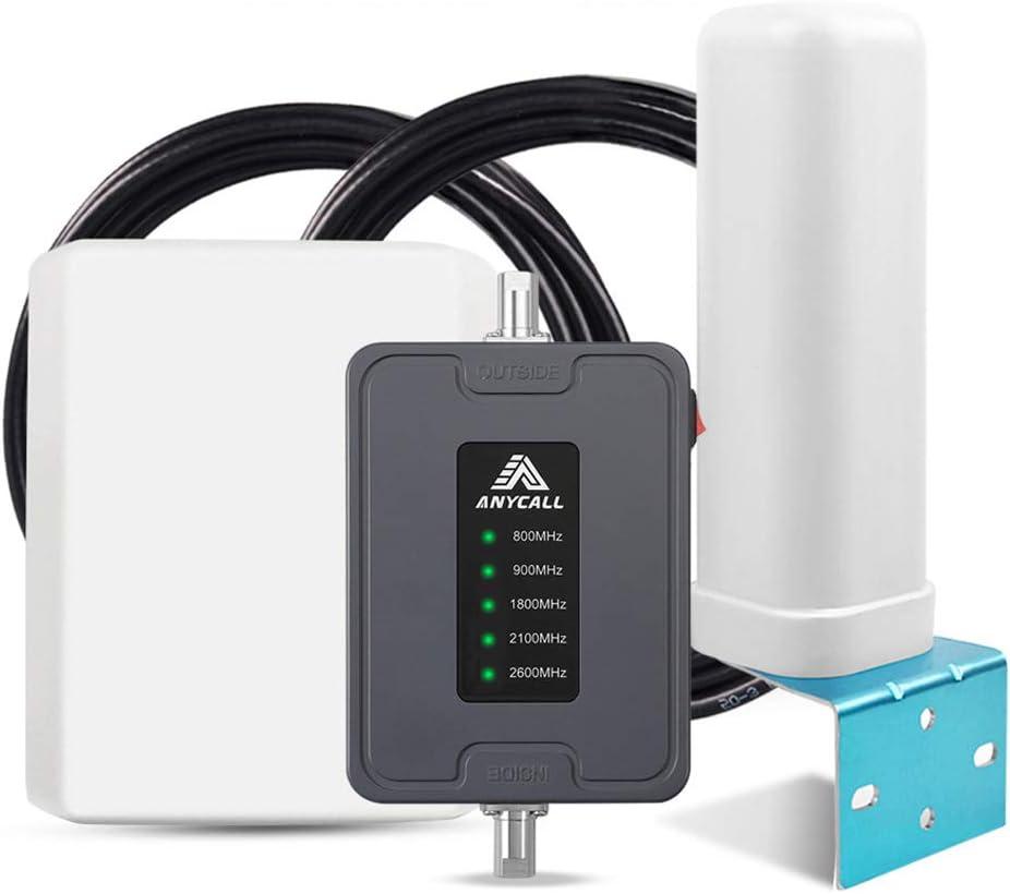 ANYCALL Amplificador Cobertura Movil 2G/3G/4G 5-Banda Repetidor Señal Movil 800/900/1800/2100/2600MHz Mejorar la Red y Llamar para Casa/Oficina/Coche/Carro/RV: Amazon.es: Electrónica