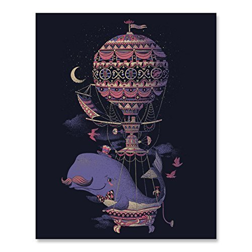 (Whale Fantasy Imagination Art Print Beautiful Flying Sea Creature in a Whimsical Balloon Poster Nautical Aviation Home Decor 8 x 10 Inches)