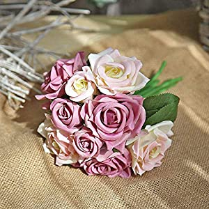 MARJON FlowersArtificial Flowers Rose Bouquet, Fake Flowers Silk Plastic Artificial Floral Roses 9 Heads Bridal Wedding Bouquet for Home Garden Party Wedding Decoration (Purple-White) 4