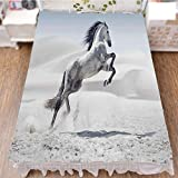 iPrint Bedding Bed Ruffle Skirt 3D Print,Galloping Over Motion Majestic Wild Animal Power,Best Modern Style Bed Skirt for Men and Women by 70.9''x94.5''