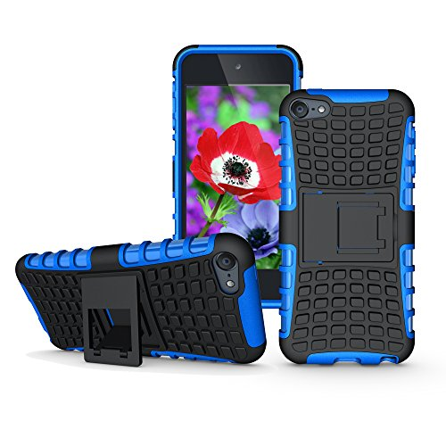 iPod Touch 6th 5th Generation Case with Kick Stand, Hybrid Heavy Duty Cover, Slim Fit Rugged Bumper Cases with Kickstand for Apple i Pod Touch 6 th 5 th (Blue with Stand)