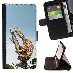 BullDog Case - FOR/Apple Iphone 5C / - / Funny Funny Scared Giraffe Africa /- Monedero de cuero de la PU Llevar cubierta de la caja con el ID Credit Card Slots Flip funda de cuer