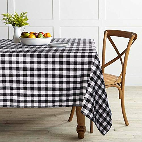 ColorBird Buffalo Plaid Tablecloth Cotton Linen Checkered Tablecloth for Home Kitchen Dining Party Picnic Indoor Outdoor Use (Rectangle/Oblong, 55 x 86 Inch, Black)