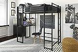 DHP Abode Full-Size Loft Bed Metal Frame with Desk, Shelves, and Ladder, Silver