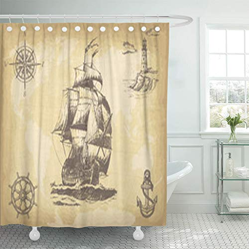 Design Shower Curtains 66 x 72 Inches Hand Drawn Vintage Sailing Ship Textures Backgrounds Waterproof Polyester Fabric Bathroom Bath Curtain Sets with Hooks (Lighthouse Brother East)