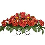 Sympathy-Silks-Artificial-Cemetery-Flowers-Saddle-Arrangement-Red-Roses-Hydrangeas-Silk-Fake-Flowers-for-Outdoor-Grave-Decorations-Non-Bleed-Colors-Easy-Fit