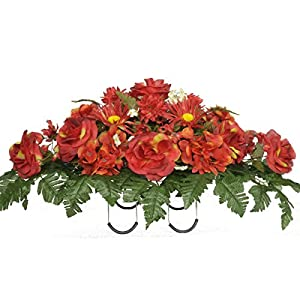 Sympathy Silks Artificial Cemetery Flowers Saddle-Arrangement - Red Roses & Hydrangeas Silk Fake Flowers for Outdoor Grave-Decorations - Non-Bleed Colors, Easy Fit 109