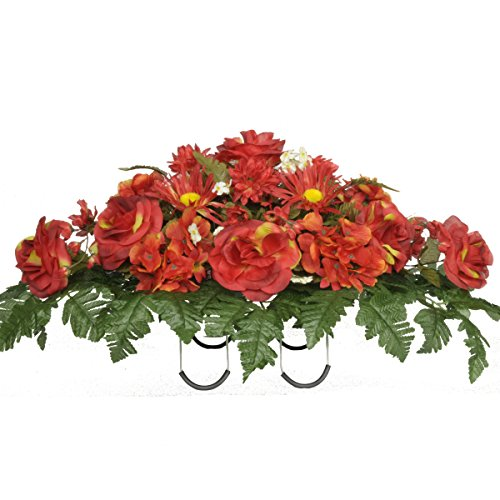 Fire Red Roses and Hydrangeas Artificial Saddle Arrangeme...