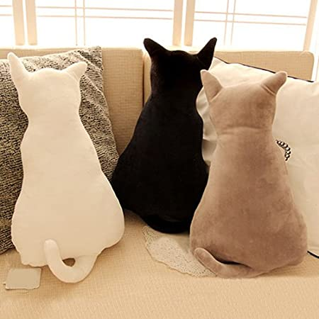 Homeofying Coussin De Canape En Peluche Douce Forme De Chat Peluche Noir 45 Cm