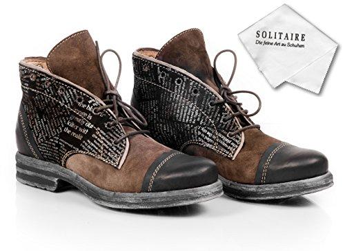 CLOCHARME / CHARME Italienische Leder Boots mit Schnürung braun/schwarz und Zeitungsdruck, incl. Schuhputztuch. Fällt mind. 1 Nr. zu groß aus! - bitte kleiner bestellen, s. Größenhinweis unten