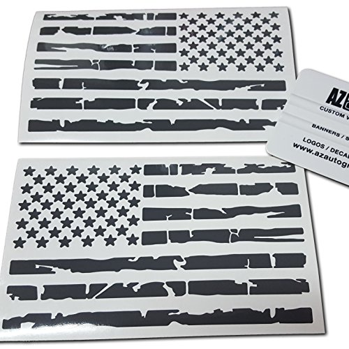 (Az Auto Graphics Pair US Distressed American Flag Decal Sticker Die-Cut Grunge Car Truck Subdued Tattered Military (Grey))