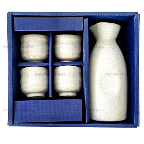 Happy Sales 5 piece Ceramic Sake Set - Off White by Happy Sales (Image #1)