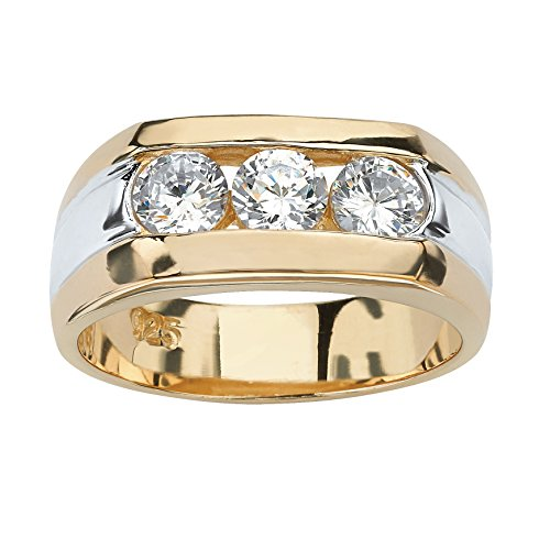 Men's 14K Gold over Sterling Silver Round Cubic Zirconia Channel Set 3 Stone Two Tone Ring ()