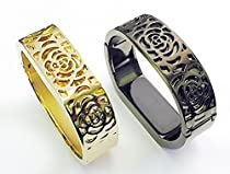 BSI Set 1 Gold And 1 Titanium Black Metal Bracelets For Fitbit Flex Activity Tracker Flowers Design Replacement Wrist Bands 6 - 7