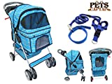 PetsCaptain Deluxe Pet Stroller Cat & Dog 4 Wheels Folding Travel Carrier Carriage with Leash - Harness - and Collar Bundle - Blue Grid - OWS24BL-BLGD