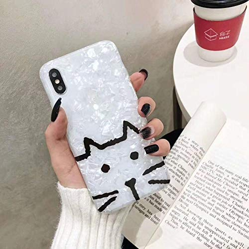Twinlight Funny line cat Dog Soft imd Phone Case for XS Max XR 7 8 Plus X Fashion Seashell Phone Back Cover Gifts (B, for iPhone X XS)