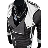 DJT Men's Oblique Zipper Hoodie Casual Top Coat