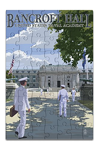 Lantern Press Bancroft Hall - United States Naval Academy - Annapolis, Maryland (8x12 Premium Acrylic Puzzle, 63 Pieces)