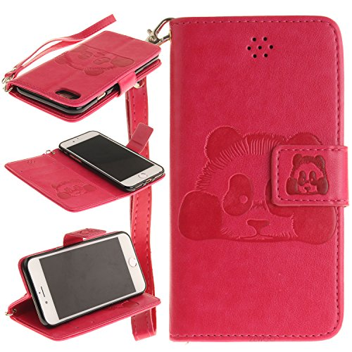 Für Apple iPhone 7 (4,7 Zoll) Tasche ZeWoo® Ledertasche Kunstleder Brieftasche Hülle PU Leder Schutzhülle Case Cover - TX025 / Panda (Pink)
