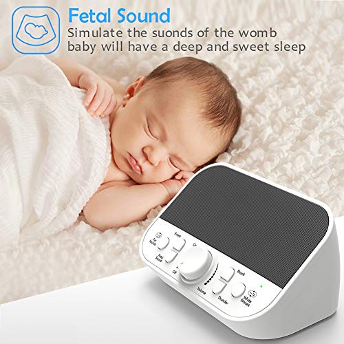 White Noise Machine, LATOW Womb Sound Machine for Baby Sleeping, Portable Sleep Therapy 28 Non-Looping Sounds for Kids Adults Home Office Travel, 2 Speakers,HeadsetJack, DC Output and Timer Sound Spa by LATOW (Image #1)