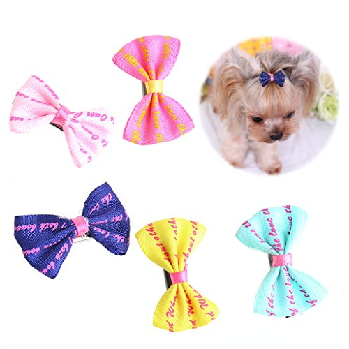 (Amrka 5Pcs Pet Cat Dog Hair Clips Bows Yorkie Hair Accessory Dot Big Hairpin Grooming)