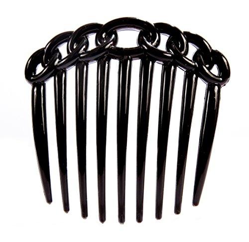 (Caravan 9 Teeth Chain Like Design Black French Twist Comb, 0.5 Ounce )