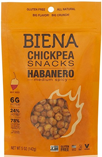 Biena All Natural Roasted Chickpeas Snacks Case of 12 - 2 oz bags (Habanero) by Biena