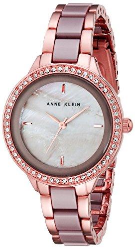 Anne Klein Taupe Ceramic Bracelet AK-1418RGTP Rose Gold-Tone Watch for Women - 1