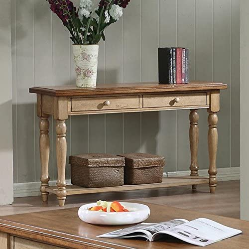 Quails Run Console Table Finish Almond Wheat