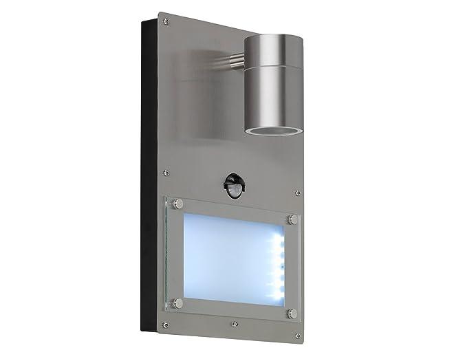 Acero inoxidable Número de Casa iluminado con detector de movimiento Marvel, 1 x GU10 LED