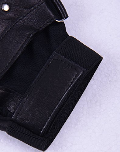 Shensee Boy Male Soft PU Leather Driving Motorcycle Biker Fingerless Warm Gloves by Shensee (Image #3)