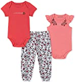 Calvin Klein Baby Girls 3 Pieces Bodysuit Set Pants, Coral/Print, 6-9 Months