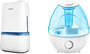 LEVOIT Humidifiers for Bedroom, 4L Ultrasonic Cool Mist Humidifier for Large Room Babies & Cool Mist Humidifiers for Bedroom, 2.4L Ultrasonic Air Vaporizer for Babies [BPA Free], 0.63gal, Blue