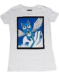 Fairy Tail: Happy Fly Junior Girls White T-Shirt
