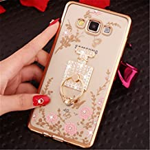 Galaxy A3 Case,Secret Garden Butterfly Floral Bling Swarovski Rhinestone Diamond Rotating Ring Stand Holder Case for Samsung Galaxy A3(Gold-Pink Perfume)