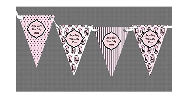 Party Banner Bunting Paris Poodle Black Pink French Personalised Birthday