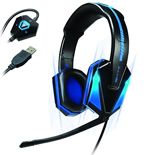 (ENHANCE GX-H1 PC Gaming Headset with Virtual 7.1 Surround Sound , Blue LED's & In-Line Volume Control - Works With Star Wars Battlefront , Football Manager 2016 , World of Warcraft & many more!)