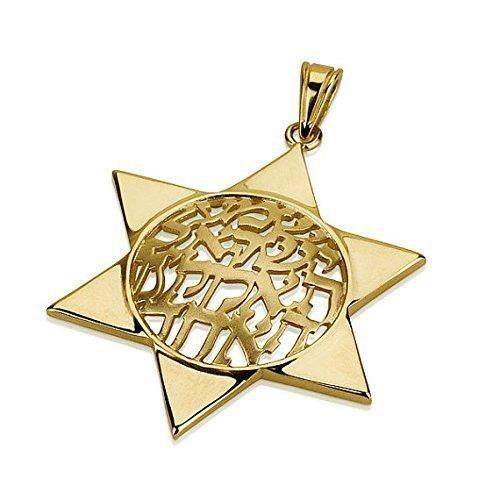 - Shema Israel Domed Star of David Pendant in 14K Gold