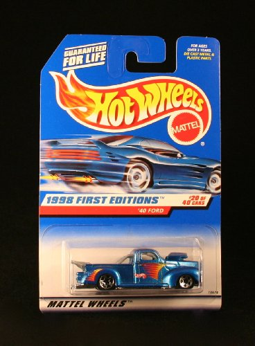 Hot Coolest Toy Car - '40 FORD * BLUE w/Thailand Base * 1998 FIRST EDITIONS SERIES #20 of 40 HOT WHEELS Basic Car 1:64 Scale Series * Collector #654 *