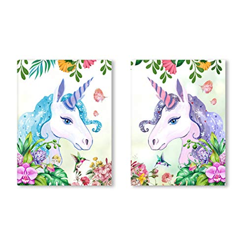 (Purple Verbena Art Lovely Pink Blue Unicorns Pictures Wall Décor with Spring Flowers Birds Watercolor Hand Painting Canvas Print Wall Art for Living Room Bedroom Home Decoration, 2pcs Framed Artwork)