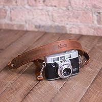 Pegai Personalized Rustic Leather Pro DSLR Camera Strap - Steve
