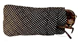 Double Eyeglass Case, Quilted Cotton Soft and Slim, by Buti-Eyes (black white polkadots)