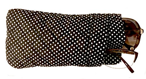 Double Eyeglass Case, Quilted Cotton Soft and Slim, by Buti-Eyes (black white polkadots) by the buti-bag company (Image #1)