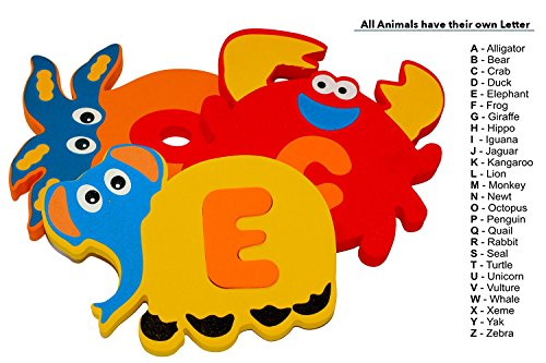 Foam Bath Toys Preschool Alphabet – Best Baby Bath Toys Toddlers Kids Girls Boys - Premium Educational Floating Bathtub Toys - The Biggest Bathtub Toys Letters Animals Set
