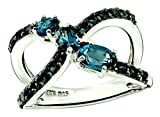 RB Gems Sterling Silver 925 Ring Genuine Gemstone 1.70 Cts X-Cross Band Ring with Rhodium-Plated Finish (7, London-Blue-Topaz)