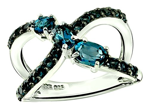 - RB Gems Sterling Silver 925 Ring Genuine Gemstone 1.70 Cts X-Cross Band Ring with Rhodium-Plated Finish (7, London-Blue-Topaz)