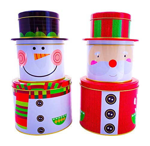 Snowman Tin Cookie (Christmas Cookie Tins with Lids - Santa Claus and Snowman Nesting Boxes: Candy, Cookie, Treats and Chocolate Decorative Holiday Storage Jars, Best Xmas Gift Set for Homemade Presents and Keepsakes)