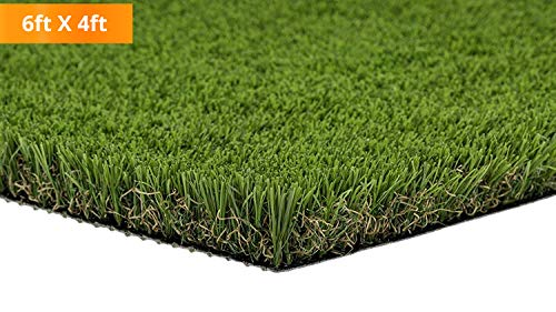 PZG Premium Deluxe Artificial Grass Patch w/ Drainage Holes | 4-Tone Synthetic Grass Mat | 1.6 Height |Extra-Heavy & Soft Pet Turf | Lead-Free Fake Grass for Dogs or Outdoor Decor | Size: 6 x 4